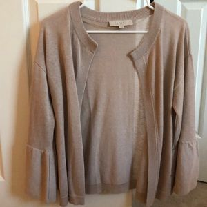 Loft oatmeal colored sweater with bell sleeves.
